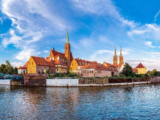 Ostrov v meste Vroclav v poľsku