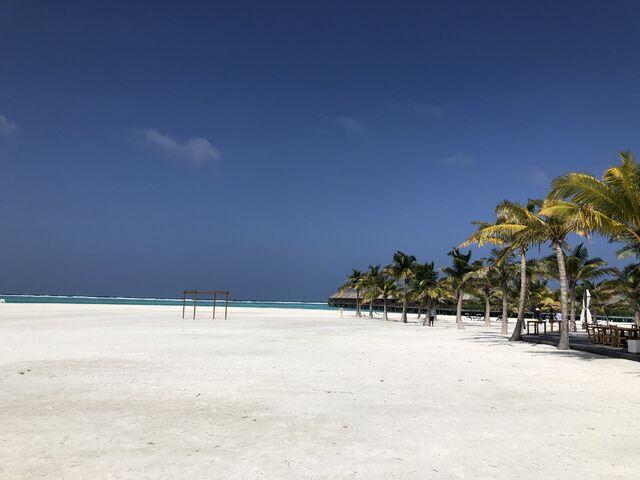 Veľká pláž na maldivách