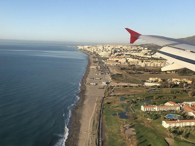 Výhľad z lietania pri pristávaní v Malage