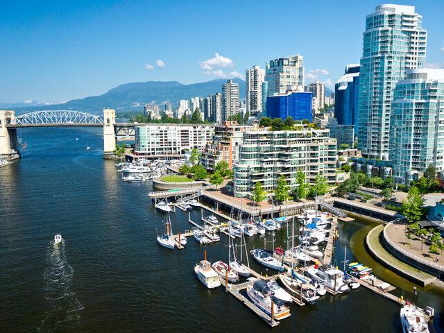 Prístav mesta vancouver v kanade