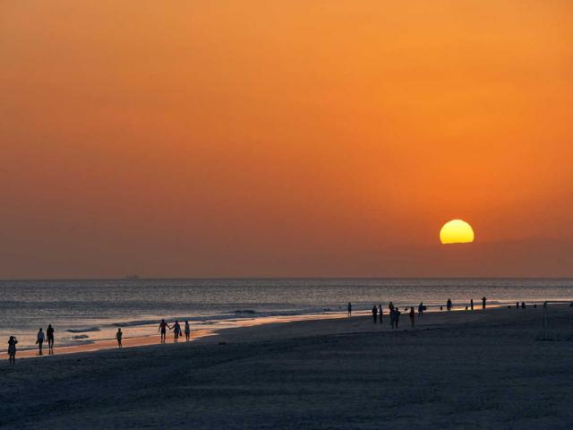 Západ slnka v ománe vo fanare