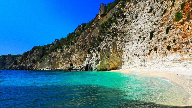 Pláž na ostrove ithaka