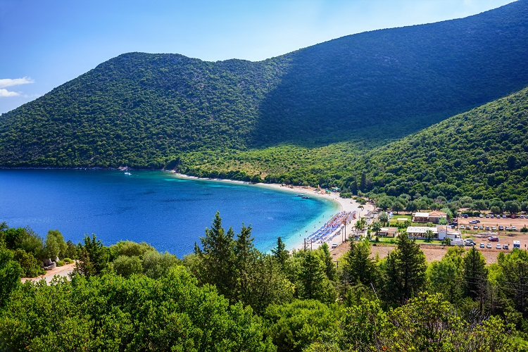 Pláž Antisamos na Kefalónii