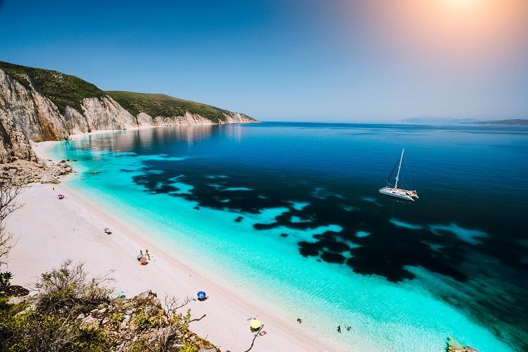 Pláž Fteri na Kefalónii
