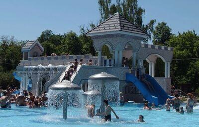Bazén s detským hradom v hoteli Hunguest h. Flora