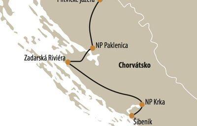 Mapka národných parkov v Chorvátsku