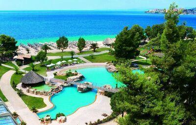výhľad v hoteli Meliton, Chalkidiki, Grécko