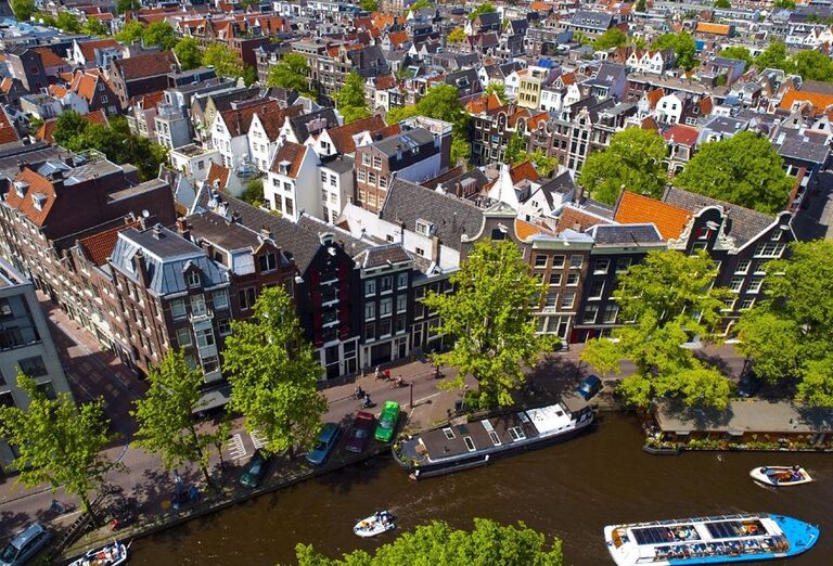 Pohľad z výšky na Amsterdam
