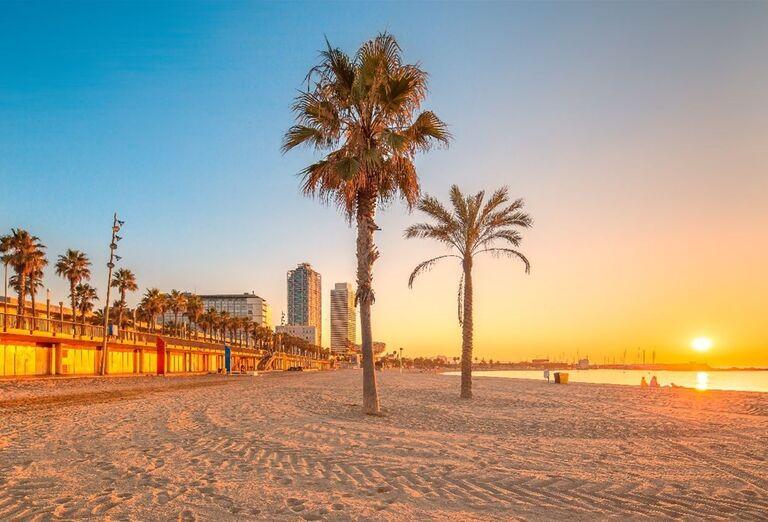 Pláž počas zájazdu v Barcelone