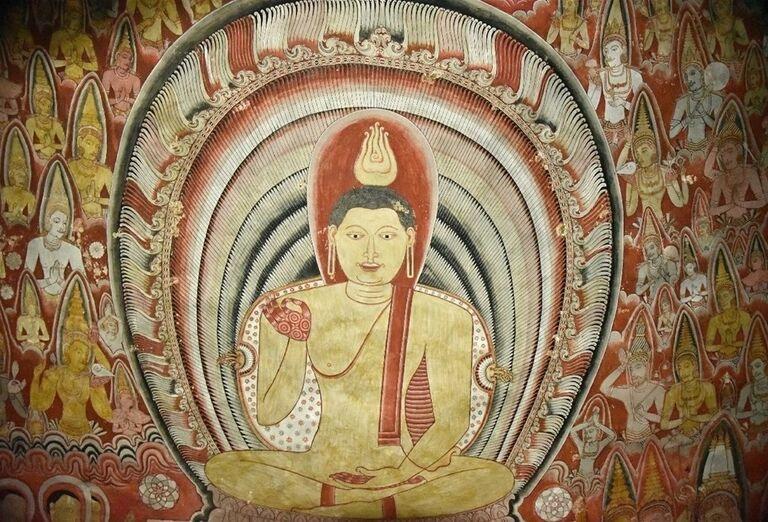 Maľovaný Buddha na stene