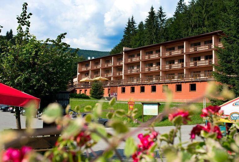 Pohľad cez kvety na horský hotel Podjavorník
