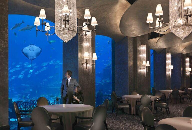 Posedenie pri akváriu v hoteli Atlantis, The Palm