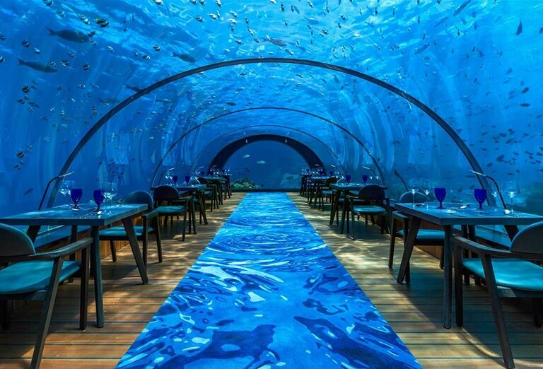 Reštaurácia pod morom - Hotelový Resort Hurawalhi Island Resort Maldives