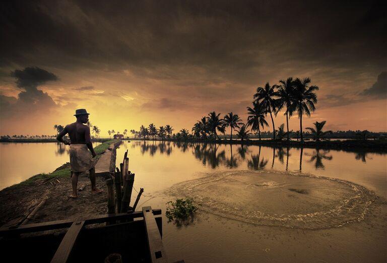 Cestovanie Keralou - západ slnka