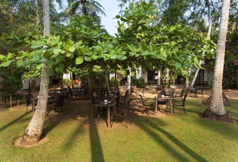 Posedenie v záhrade rezortu Surya Lanka Ayurveda Beach