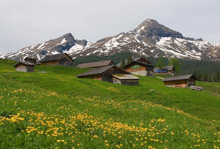 Na ceste krajom Viedenských Álp - domčeky na lúke