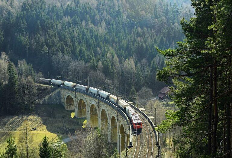 Semmeringský priesmyk- vlakový prejazd