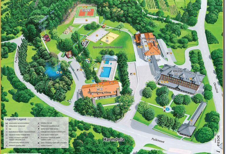 Mapka areálu hotela Pod Lipou Resort