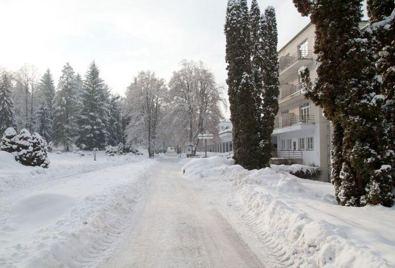 Zimná cesta pred hotelom Palace