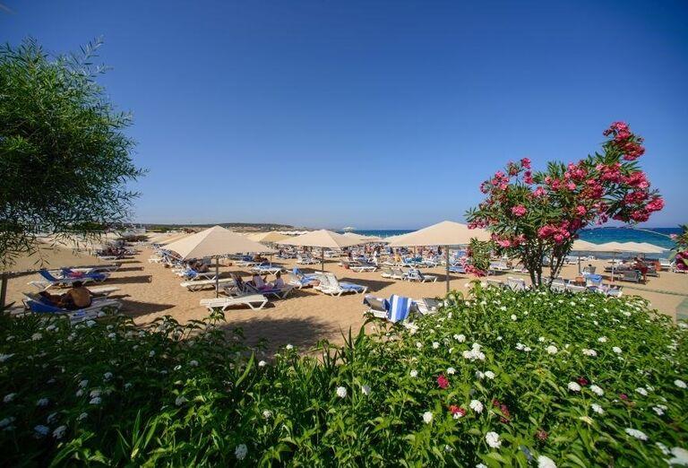 Pláž s lehátkami v hoteli Kaya Artemis Resort