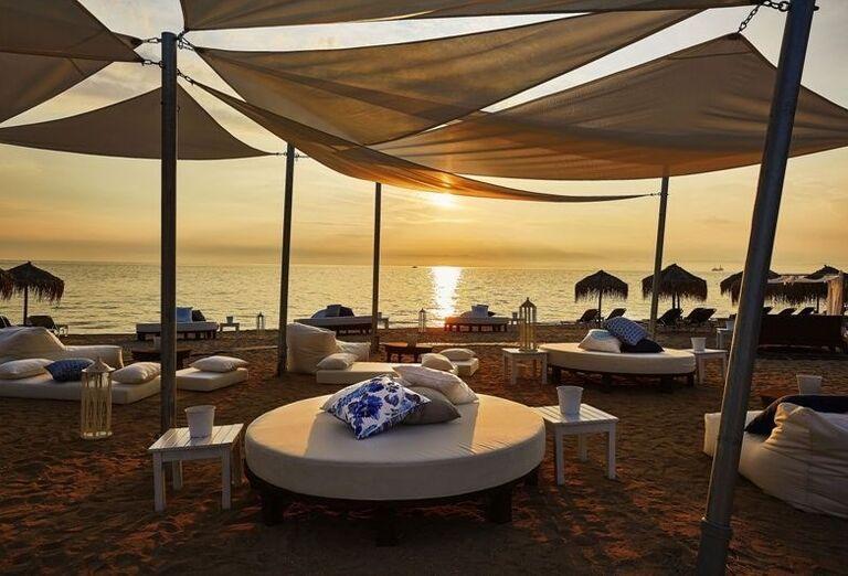 Thassos, Skala Prinos, hotel Ilio Mare, pláž